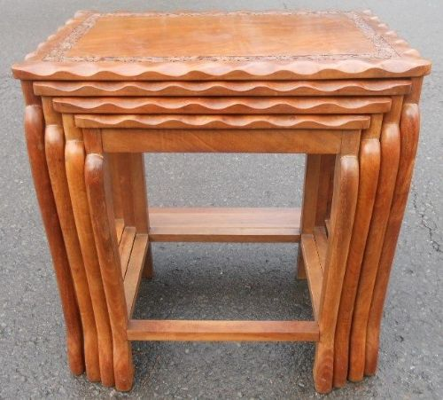 Oriental Nest of Four Hardwood Coffee Tables